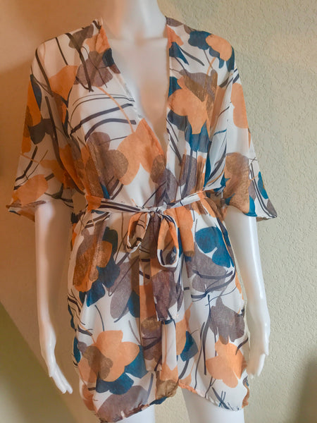 sheer printed belted top blue labels boutique