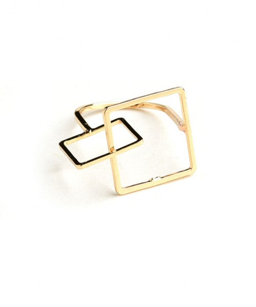 top dress boutique - gold geometric ring - blue labels boutique