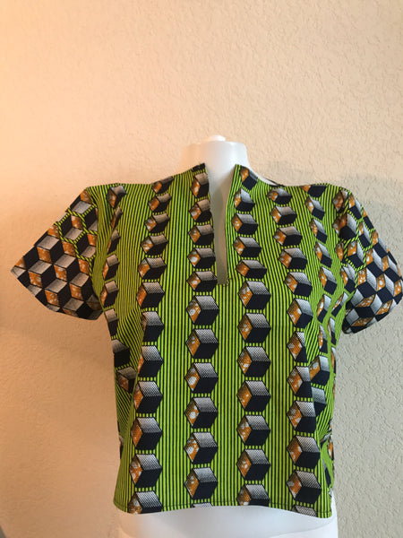 green african print womens top