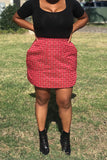red plaid mini skirt with pockets