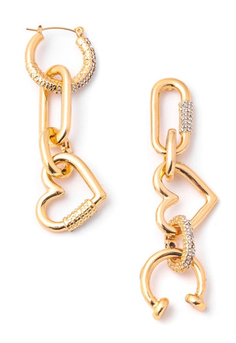 gold heart shape earrings