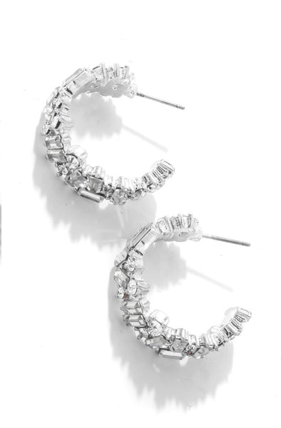 silver baguette hoop earrings