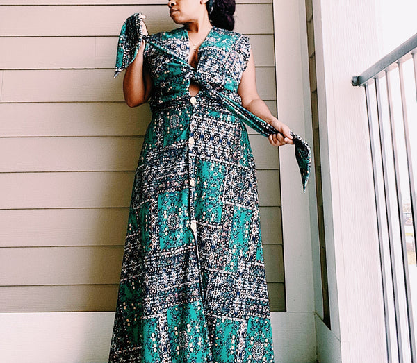 green printed button front maxi dress