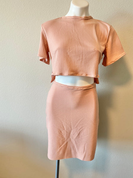 pink cotton top and skirt