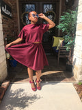 burgundy womens swing skirt