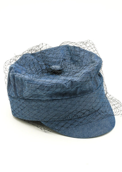 denim hat with netting