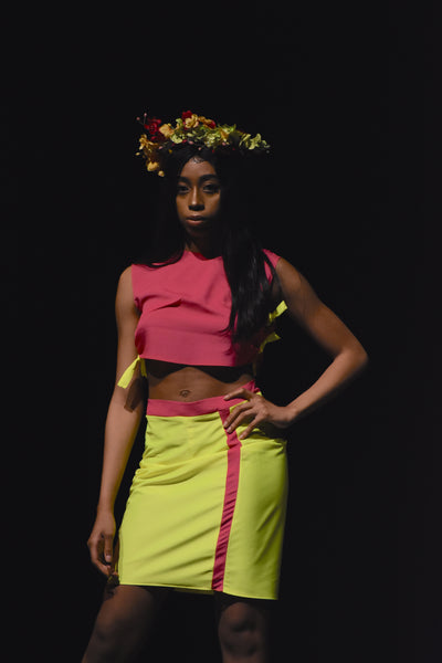 neon yellow and pink skirt
