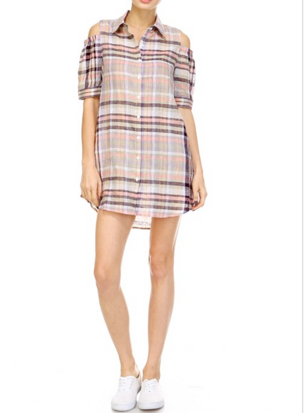 plaid mini dress with off the shoulders blue labels boutique