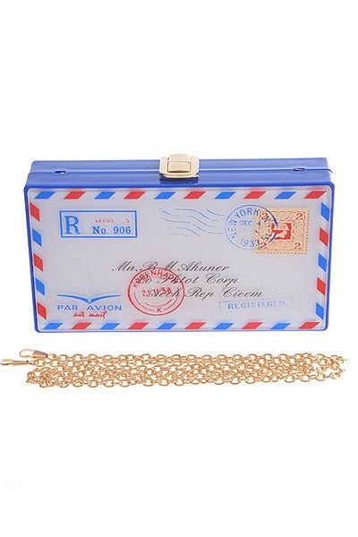 postcard clutch bag blue labels boutique