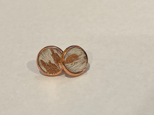 Cowhide Stud Earrings - Rose Gold Coloured Surgical Steel