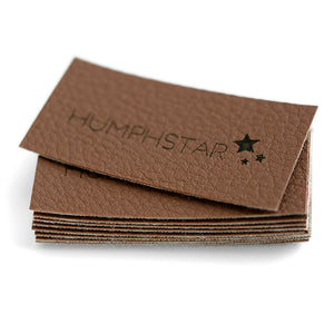 Personalized faux leather labels with precut holes in brown, red or grey 50 pcs
