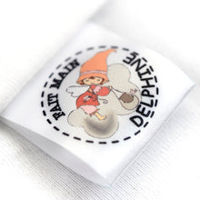 Load image into Gallery viewer, 30mm Personalized white or beige satin textile clothing labels