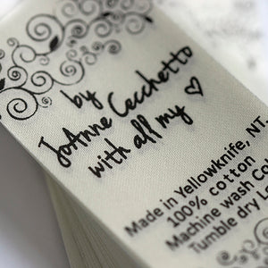 30mm Personalized white or beige satin textile clothing labels