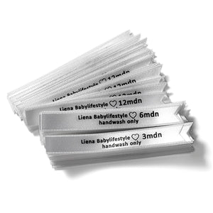 10mm satin ribbon labels pre-cut personalized CPSIA requirements 100 pcs