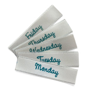 Days of the week / the Seven day week labels 40x10mm Face Mask labels