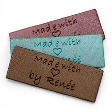 Load image into Gallery viewer, Personalized  brown / grey suede look fabric labels Rectangle shape 50 pcs