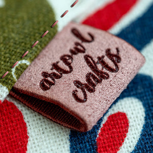 Personalized  brown / grey suede look fabric labels Rectangle shape 50 pcs