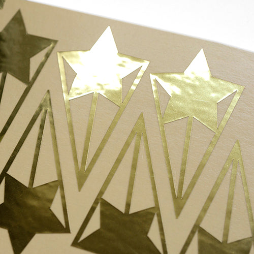 shooting star gold foil sticker, autocollant feuille d'or étoile filante