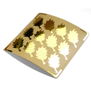metallic goud stickers blaadje vorm