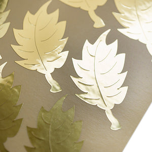 metallic gold leaf shape stickers, autocollants métalliques de forme de feuille d'or,