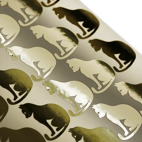 Cat shaped die cut stickers gold, chat d'autocollants de feuille d'or