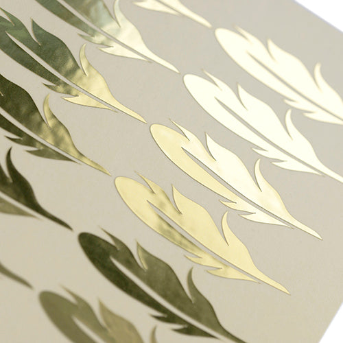 shiny gold feather stickers, gouden veertjes / veren stickers