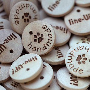 15mm Round wooden hang labels with your personal custom text printed