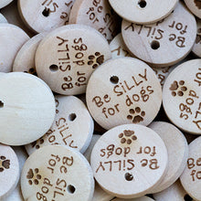 Load image into Gallery viewer, 15mm Round wooden hang labels with your personal custom text printed
