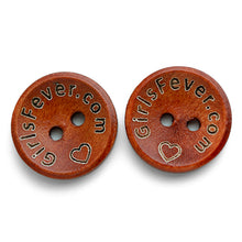 Load image into Gallery viewer, 15mm Personalized round wooden buttons red coating with custom text