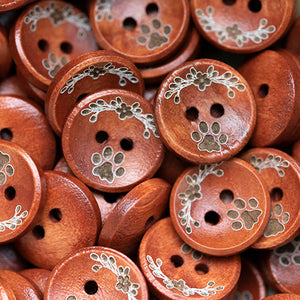 15mm Personalized round wooden buttons red coating with custom text