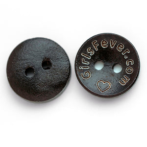 15mm Personalized round wooden buttons dark brown coating 100 pcs