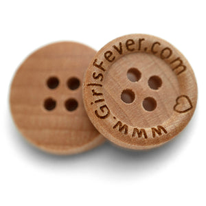 15mm Personalized round wooden Camilia buttons with custom text