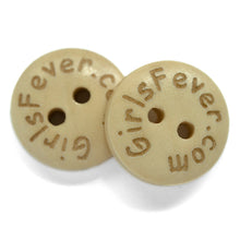 Load image into Gallery viewer, 15mm plain wooden buttons coated engrave with your tekst