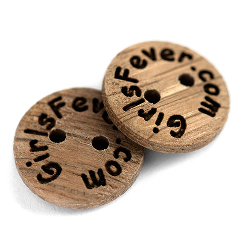 Personalised 15mm oak wooden buttons