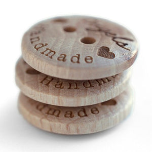 18mm Coated round convex wooden buttons with personalization text 100 pcs