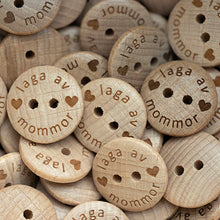 Load image into Gallery viewer, 18mm Coated round convex wooden buttons with personalization text 100 pcs