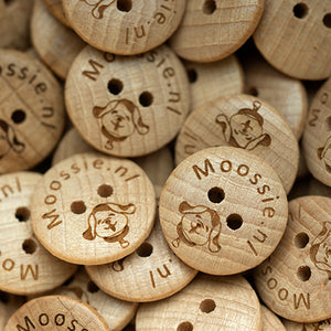 18mm Coated round convex wooden buttons with personalization text