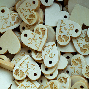 Personalized mini wooden heartshaped wooden hang labels 200 pcs