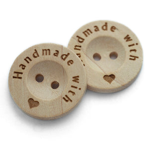 20mm Round wooden buttons with personalization text printed on the edge 100 pcs