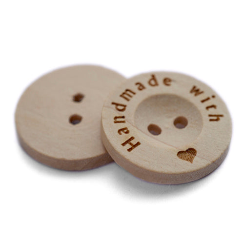 20mm wooden button engrave on edge