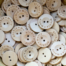 Load image into Gallery viewer, 20mm Round wooden buttons with personalization text printed on the edge 100 pcs