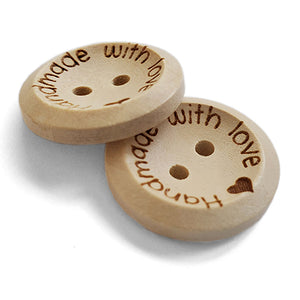 20mm Personalized round concave wooden buttons 100 pcs
