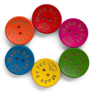 20mm Personalized round wooden mix color buttons 100 pcs