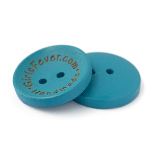23mm Personalized round concave wooden buttons blue or pink 100 pcs