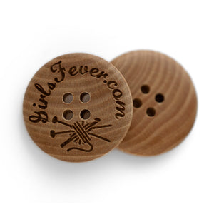 23mm Personalized round convex wooden buttons with 4 holes 50 pcs or 100 pcs