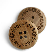 Load image into Gallery viewer, 23mm Personalized round convex wooden buttons with 4 holes 50 pcs or 100 pcs