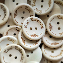 Load image into Gallery viewer, 23mm Round concave wooden buttons with personalization text included