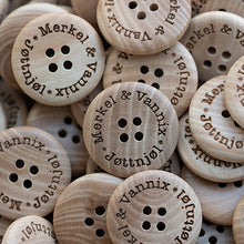 Load image into Gallery viewer, 25mm Personalized round CONVEX wooden buttons 4 holes 50 pcs or 100 pcs