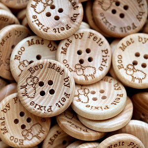 25mm Personalized round concave wooden buttons 4 holes 50 pcs or 100 pcs