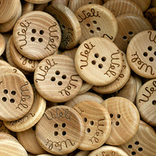 Load image into Gallery viewer, 25mm Personalized round concave wooden buttons 4 holes 50 pcs or 100 pcs